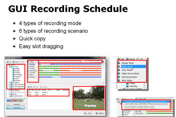 NUUO PBN software - recording schedule