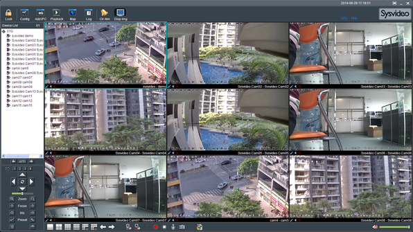 Sysvideo SC6000 Series IP Camera Management Software XCenter UI: Main Window 9ch