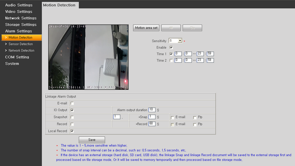 Sysvideo SC6000 Series IP Camera Management Software XCenter UI: Camera Motion Detection Setting